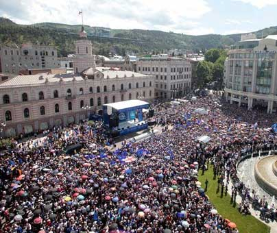 Mass opposition rally in Tbilisi, Georgia