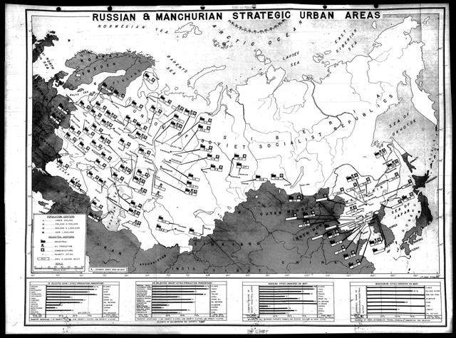 რუკა იმ ქალაქებისა, რომელთა დაბომბვასაც ამერიკელები აპირებდნენ