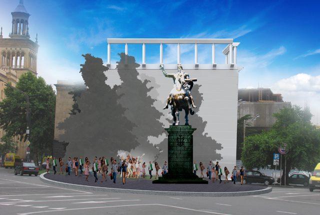 დავით აღმაშენებლის ძეგლი, მოქანდაკე - მერაბ ბერძენიშვილი, - არქიტექტორი ვახტანგ დავითაია. პროექტი დედაქალაქის მერის გადაწყვეტილებას ელოდება