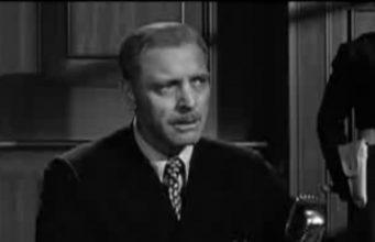 """კადრი ფილმიდან """"ნიურნბერგის პროცესი"""" მოსამართლე ერნსტ იანინგი (მსახიობი ბერტ ლანკასტერი)"""
