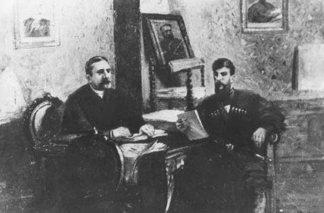 """ვაჟა-ფშაველა ილია ჭავჭავაძესთან """"ივერიის"""" რედაქციაში, მხატვარი ი.მამისაშვილი"""
