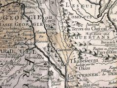 დავით-გარეჯის სამონასტრო კომპლექსი და გარეჯის ქედი (MONT GOUREDGIA) გიიომ დელილის და სულხან-საბა ორბელიანის მიერ შედგენილ რუკაზე, რომელიც გამოიცა პარიზში 1723 წელს