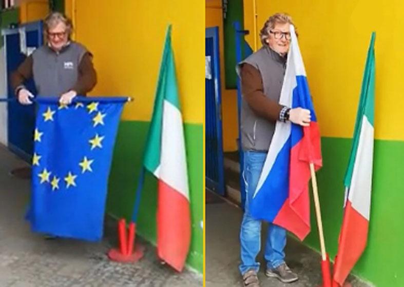 იტალიაში ევროკავშირის დროშა ჩამოხსნეს და რუსეთის დროშა ააფრიალეს