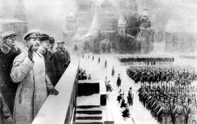 სტალინი სამხედრო აღლუმზე. მოსკოვი, 1941 წლის 7 ნოემბერი