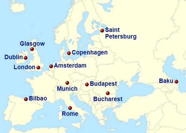 ქალაქები, რომლებიც ევროპის ჩემპიონატს უმასპინძლებს